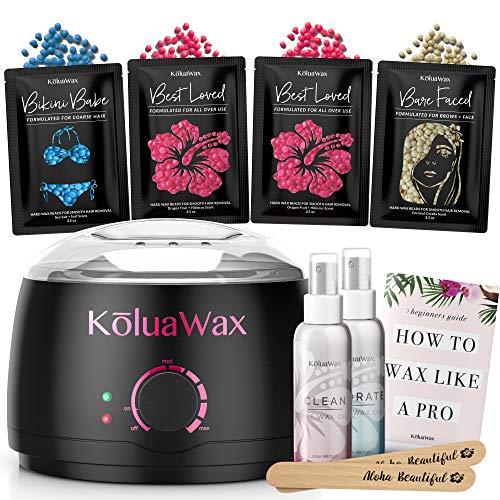 Waxing Kit Wax Warmer Hair Removal with Hard Wax Beans. KoluaWax Multiple Formulas Target Different Type of Hair, Eyebrow, Facial, Armpit, Bikini, Brazilian,for Women and Men. 20 Applicators for Home (Best Hard Wax For Bikini Area)