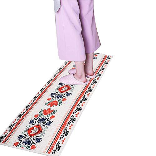 MR FANTASY Floral Kitchen Mat Rug Runner with Rubber Backing, Non-Slip Bathroom Mat Rug Bedside Absorbent, Comfort Chef Floor Mat Carpet Anti-Fatigue for Entryway Hallway 18x47