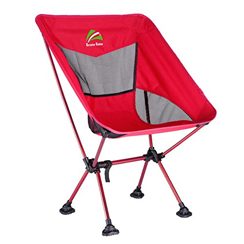 BERSERKER OUTDOOR Ultralight Compact Folding Camping Chair, Portable Lightweight Backpacking Chair with All-Terrain Dynamic Adjustment Feet Heavy Duty 300lbs for Outdoor Camp, Hiking Red