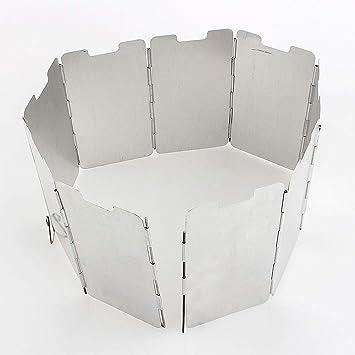 Parabrisas - Cocina de supervivencia plegable de 9 placas Estufa de gas Protección del viento Parabrisas