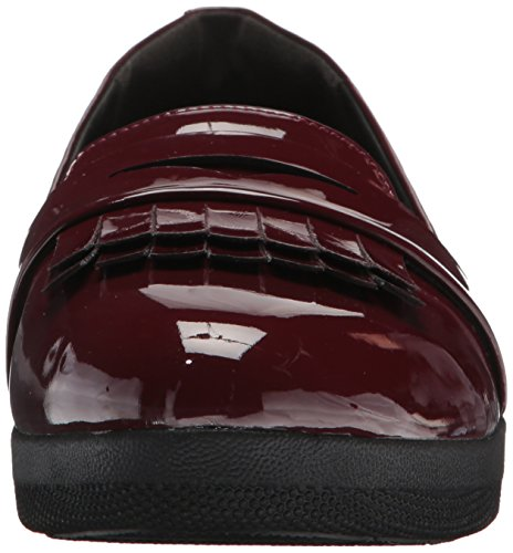 Fitflop Donna Fringey Sneakerloafer Scarpe In Patent Mocassino Hot Cherry
