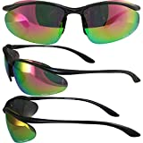 Global Vision Hollywood Safety Sunglasses Matte Black Frames G-Tech Pink Mirror Lenses ANSI Z87.1+