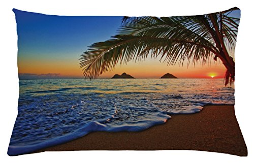 Ambesonne Hawaiian Throw Pillow Cushion Cover, Pacific Sunrise at Lanikai Beach Hawaii Colorful Sky Wavy Ocean Surface Scene, Decorative Accent Pillow Case, 26 W X 16 L Inches, Blue Brown by Ambesonne