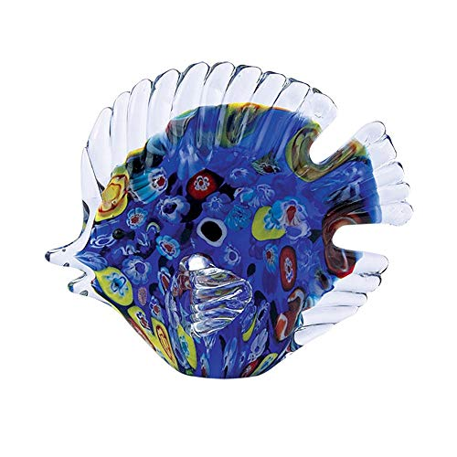 Glass Handmade Murrini Disc Fish- Blue - 7.8