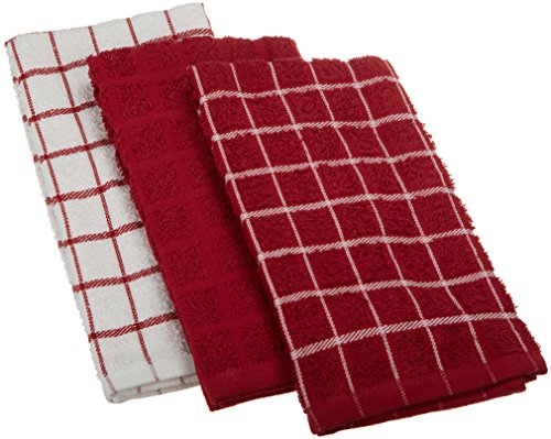 Ritz 100% Cotton Terry Kitchen Dish Towels, Highly Absorbent, 25 x 15, 3-Pack, Paprika Red