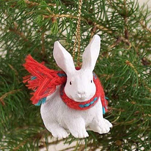 Conversation Concepts Rabbit White Original Ornament (Rabbit Christmas The)