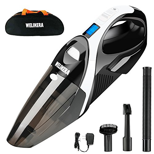 WELIKERA 12V 100W Cordless Handheld Vacuum, Powerful Portable Vacuum Cleaner, Rechargeable Vacuum with Stainless Steel Filter and A Carrying Bag, Black by WELIKERA