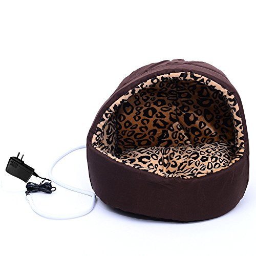 Hooded Round Electric Pet Bed Heated Pet Bed Cat Dog Puppy Heating Nesting Pads - Headboard Oyster