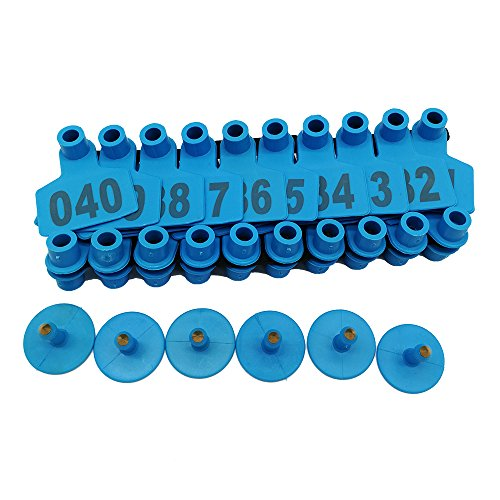 001-1000 Ear Tags Animal Identification Tags Livestock Cattle Sheep Pig Ear Mark (Blue) by General (Image #1)