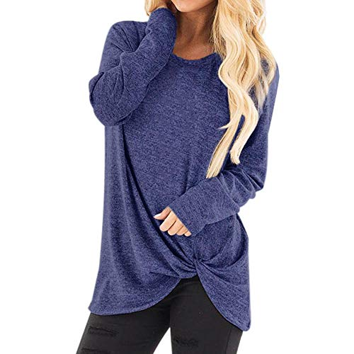 (Toimothcn Women Solid Long Sleeve T-Shirt Casual Loose Knot Blouse Tops Plus Size(Dark Blue,S))