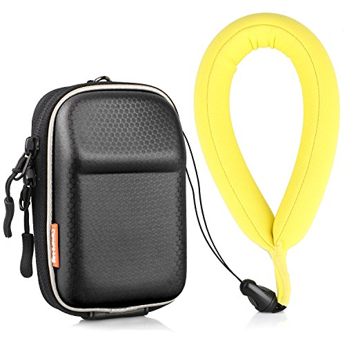 Waterproof Camera Float and Digital Camera Case(2 pack), Rukoy Universal Floating Wrist Strap and Black EVA Shock Resistant Digital Camera Bag for Sony Canon, Nikon,Panasonic,Keys and Sunglass