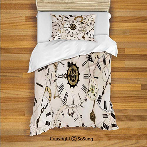 SoSung Antique Kids Duvet Cover Set Twin Size, Collection of Vintage Classic Clock Faces Aged Analog Time Minute Hour Print 2 Piece Bedding Set with 1 Pillow Sham,White Black
