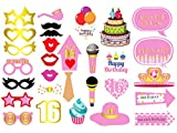 GOER 16th Birthday Party Supplies,30 Pcs Photo Booth Props for Sweet 16 Party Decorations