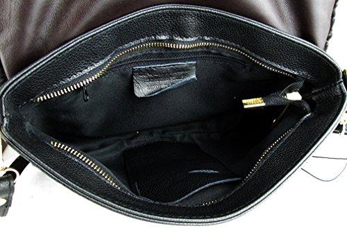 borsa pochette in vera pelle con vera pelliccia made in Italy 388657