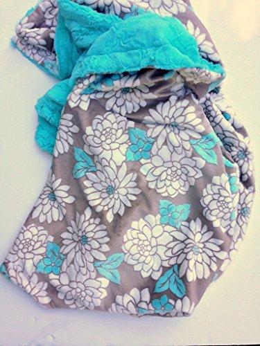 Blue Floral Adult Minky Blanket Adult Throw Blanket Size Blanket 50 x 60 in