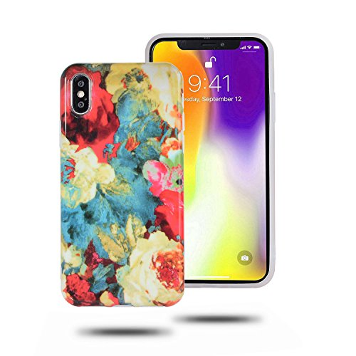 iPhone X Case, Swishly Flower Design Clear Bumper Glossy TPU Soft Rubber Silicone Cover Phone Case for Apple iPhone X (2017 Release)