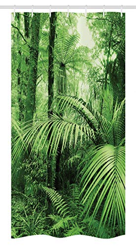 Ambesonne Rainforest Stall Shower Curtain, Palm Trees and Exotic Plants in Tropical Jungle Wild Nature Theme Illustration, Fabric Bathroom Decor Set with Hooks, 36