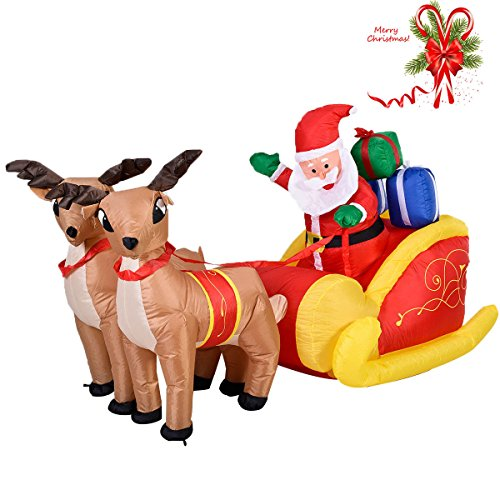 Ebay Joker Costume (7 Ft Waterproof Inflatable Double Deer Christmas Decoration Outdoor Art with Sled)