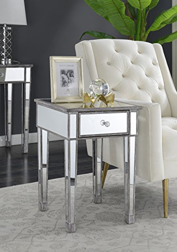 Convenience Concepts 413345WGY Gold Coast Mirrored End Table Drawer, Weathered Gray - Living Room Mirrored Accent Table
