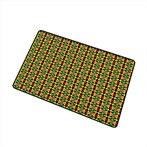 Sillgt Kente Pattern Crystal Velvet Doormat Indigenous Heritage Tile Design with Triangles and Circles Namibia Botswana with No-Slip Backing 24