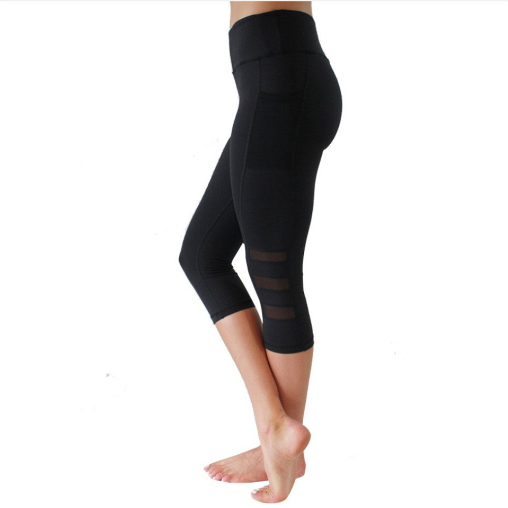 Ytdzsw Pantalones De Yoga para Mujer Polainas con Bolsillos Mallas De Running Negras Calcetines De Malla para Gimnasio Medias De Malla Deportiva para ...