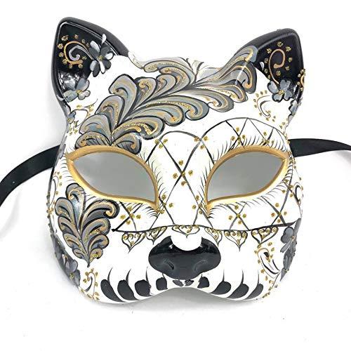 KBW Unisex Cat Gato Tiger Masquerade Mask Halloween Party Ball Venetian Mask (Black -