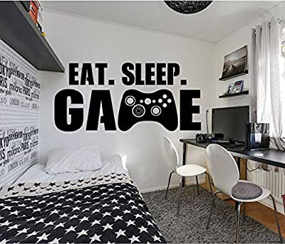 Gamer Eat Sleep Game Wall Decal Controller Stickers Home Decor Customized for Kids Bedroom Vinyl Wall Art Decals (us001)