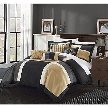 11pc Black Gold Embroidered Patchwork Comforter King Set, Grey Adult  Bedding Master Bedroom Stylish Color
