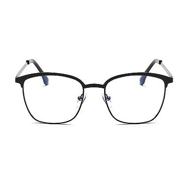 Hzjundasi Lunettes de cadre en plastique de conception de demi-trame de mode Aucune force lumière clair lentille lunettes anti-lumière bleue djBIIjZw