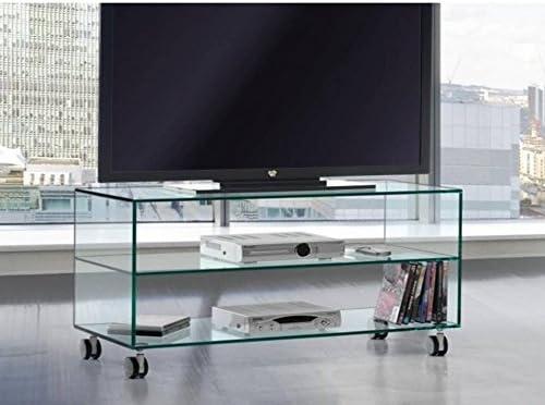 Crespo Decoración Mesa TV Tres estantes.Vidrio Transparente de Seguridad Medidas 90 x 38 Altura 53 cm. FKATE: Amazon.es: Hogar