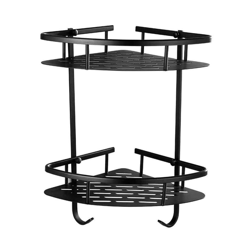 LUDSUY Black Solid Brass Corner Basket Bathroom Shelf Double Bathroom Rack Wall Mount Bathroom Lavatory,B
