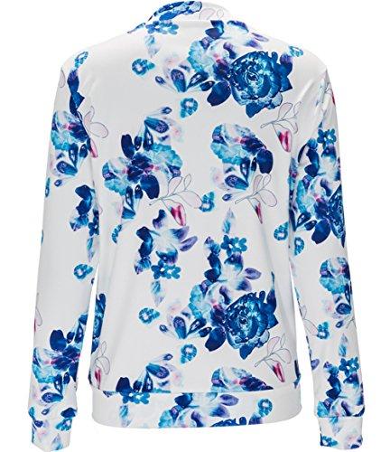 Larga Impreso Collar Azul Chaqueta Manga Floral Mujere AWEIDS Corta Uaxn70q