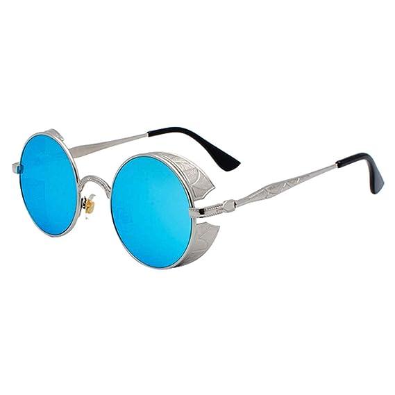 kunfang Gafas de Sol Hombre Mujer UV400 Protección Steampunk ...
