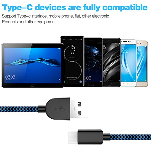 USB Type C Cable,WUXIAN 5Pack (3/3/6/6/10 ft) Nylon Braided with USB Long Cable for Samsung Galaxy S9,Note 8,S8 Plus,LG V30 V20 G6 G5,Google Pixel,Nexus 6P 5X(Black&Blue) by WUXIAN (Image #3)