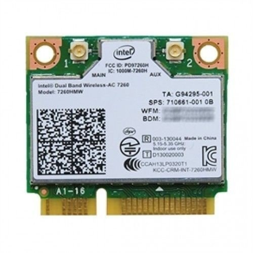 Intel 7260.HMWG.R Dual Band Wireless-AC 7260 Network adapter PCI Express Half Mini Card 802.11 b/a/g/n/ac by Intel