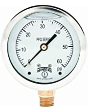 """Winters PFQ Series Stainless Steel 304 Single Scale Liquid Filled Pressure Gauge with Brass Internals, 0-60 psi, 2-1/2"""" Dial Display, -1.5% Accuracy, 1/4"""" NPT Bottom Mount"""