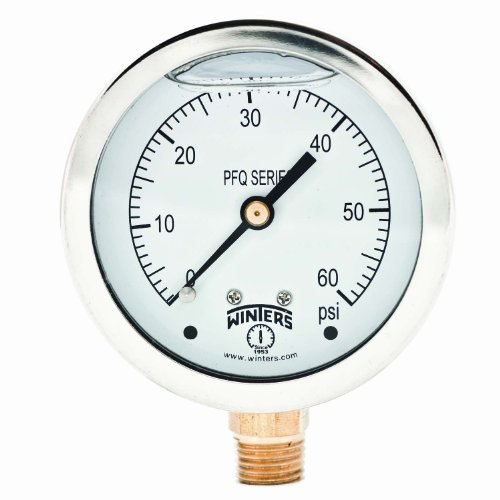 Winters PFQ Series Stainless Steel 304 Single Scale Liquid Filled Pressure Gauge with Brass Internals, 0-60 psi, 2-1/2