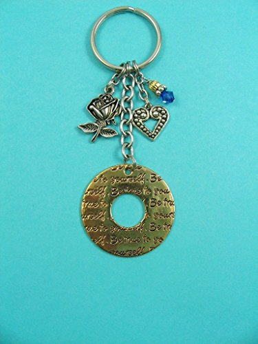 Phi Charm Keychain - Phi Sigma Sigma Sorority Rose Keychain Be True to Yourself OFFICIALLY LICENSED PRODUCT