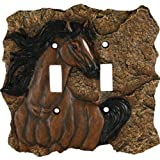 Rivers Edge Products Horse Double Switch Electrical Cover Plate