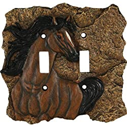 River's Edge Products Horse Double Switch Electrical Cover Plate