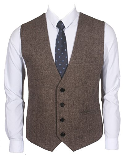 Ruth&Boaz 3Pockets 4Buttons Wool Herringbone / Tweed Business Suit Vest (S, Tweed Brown) by Ruth&Boaz