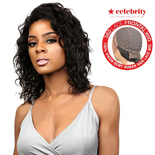 Celebrity 100% Virgin Remi Human Hair Lace Wig 360 Lace Frontal Wig Loose Wave Natural Color (12