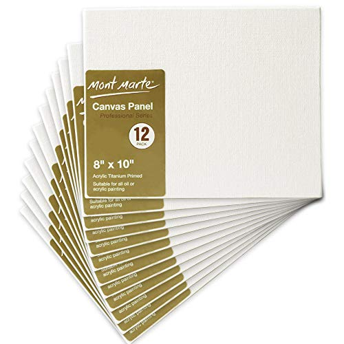 Professional Canvas Panels for Art Painting by Mont Marte, Cotton Canvas Boards for Artists-8x10 Inches-12 Pack by Mont Marte