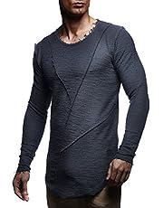 Leif Nelson Heren pullover ronde hals zwarte mannen lange mouwen dunne trui sweatshirt lange mouwen crew neck jongens hoodie t-shirt lange mouwen oversize LN6323