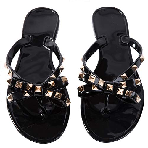 - Women Stud Flip Flops Clear Bow Sandals Beach Flat Crystal Jelly Thong Shoes (8.5 B(M) US, Black)