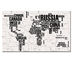Amazon large size 24x40 map canvas wall art map poster prints large size 24x40 map canvas wall art map poster printswell designed words world map printed on canvasready hanging onworld map canvas picture art wall gumiabroncs Images