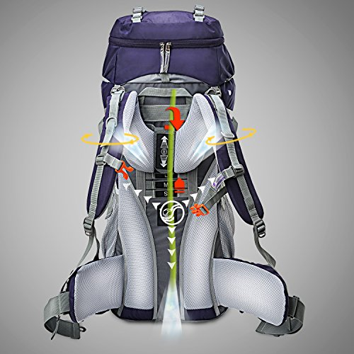Mountaintop 65L Internal Frame Backpack Hiking Backpack with Rain Cover-5822III