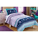 CA 7 Piece Kids Girls Teal Blue Purple Bohemain Comforter Set Full Sized, Blue Boho Chic Elephants Bedding Medallion Paisley White Flowers Pastel Colors Stripes, Polyester