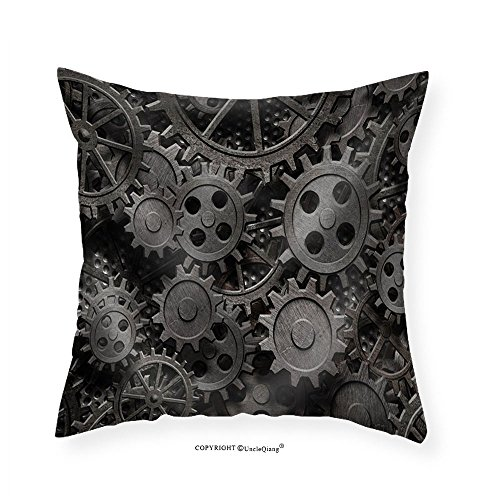 VROSELV Custom Cotton Linen Pillowcase Many Old Rusty Metal Gears or Machine Parts - Fabric Home Decor 20