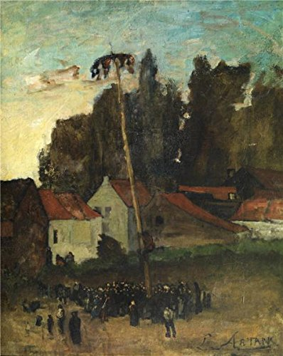 High Quality Polyster Canvas ,the Reproductions Art Decorative Prints On Canvas Of Oil Painting 'Louis Artan De Saint-Martin - Climbing The Pole, 19th Century', 10x13 Inch / 25x32 Cm Is Best For Bathroom Gallery Art And Home Decoration And Gifts ()